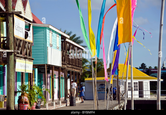 Redcliffe Quay shopping area, Antigua with bright colors - Stock Image