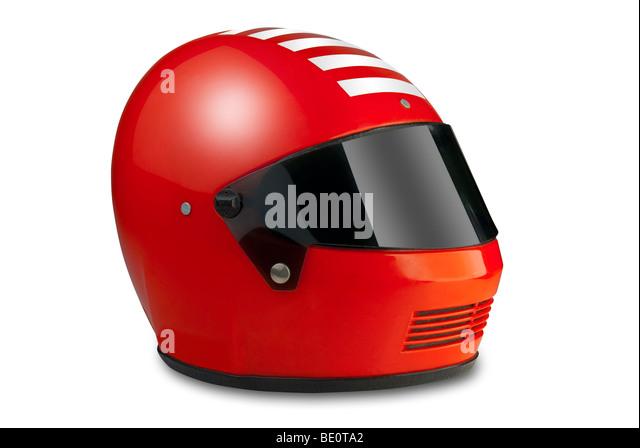 Red motor sport racing helmet - Stock Image