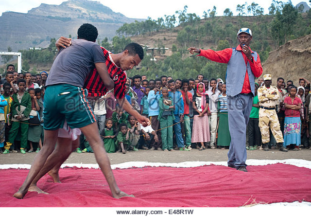 Wrestling competition ( Ethiopia) - Stock Image