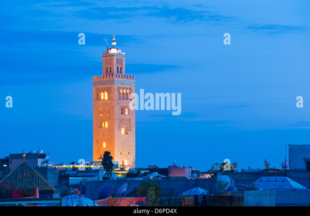 Koutoubia Mosque minaret at night, Marrakech, Morocco, North Africa, Africa - Stock Image