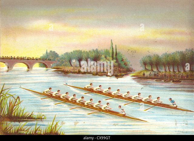 Rowing eights race on river - Stock Image
