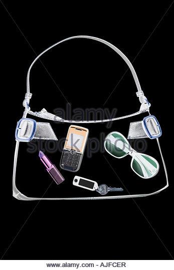 X ray of objects in handbag - Stock Image