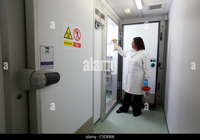 Lab technician checking samples from a -86? freezer at the Leeds Metropolitan University.Bio Chemical laboratory - Stock-Bilder