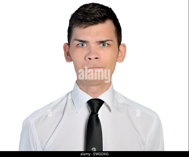 Isolated business man doubt face - Stock Image