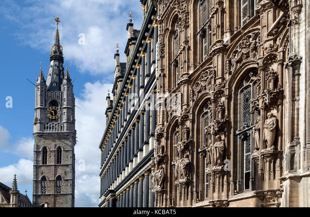 The Belfort (Belfry) and the Stadhuis in Ghent, Belgium. The 91-metre-tall belfry of Ghent is one of three medieval - Stock Image