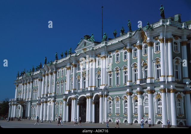 Russia former Soviet Union St. Petersburg Hermitage Winter Palace Peter the Great rooms art items Palace Square - Stock Image