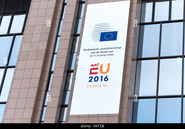 Brussels Dutch EU Council Presidency 2016 logo banner on the European Council Building in Brussels Belgium on January - Stock Image