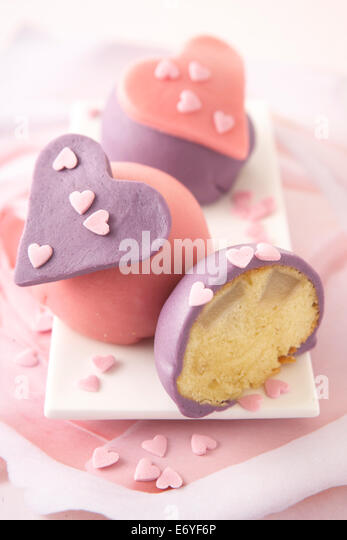 Almond-pear soft hearts - Stock Image