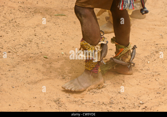 Noise-makers tied to ankles of dancer, Mognori Eco-Village, Ghana - Stock Image