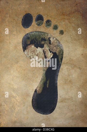 Illustrative image of carbon footprint against colored background - Stock Image