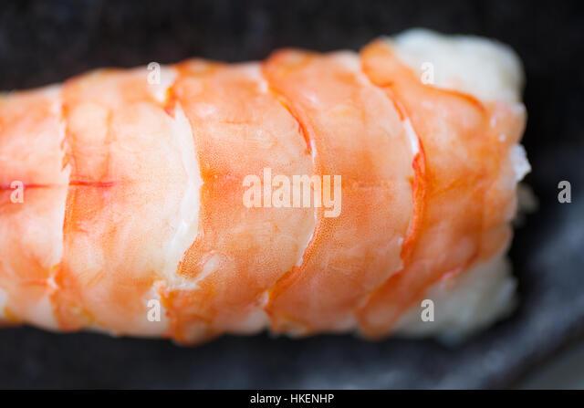 sushi. rice, food, raw fish, healthy eating., shrimp, ebi nigiri - Stock Image