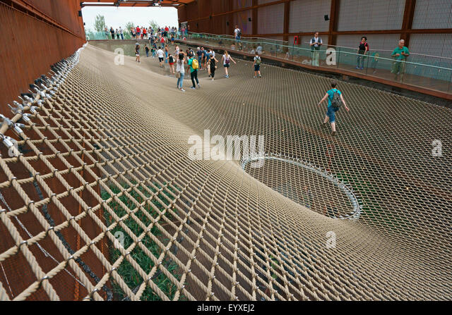 The network at the Brazil Pavilion, Milan Expo 2015, Italy - Stock Image