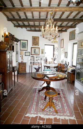 Annual Antique Fair showroom in private house in Sarnano Le Marche Italy - Stock Image