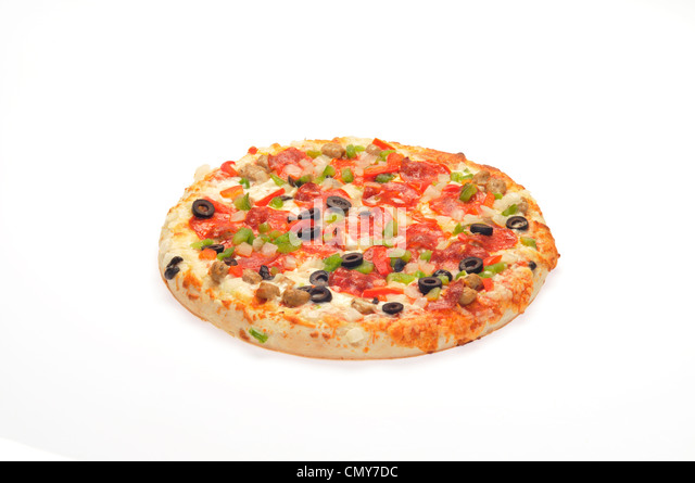 Hot pizza with cheese, pepperoni, sausage, red and green pepper, onion and black olives - Stock Image