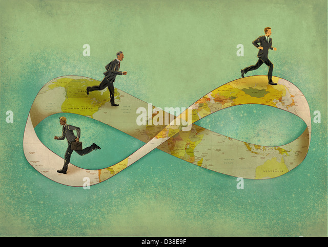 Illustrative image of businessmen running on infinity symbol - Stock-Bilder