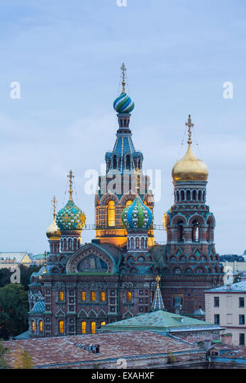 Illuminated domes of Church of the Saviour on Spilled Blood, UNESCO World Heritage Site, St. Petersburg, Russia, - Stock Image