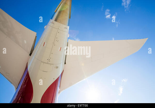 Rear tip of the fuselage of a Boeing 787 Dreamliner. - Stock Image
