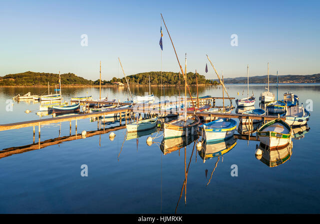 Traditional Wooden Fishing , Barquette Moored ,Six-Fours-les-Plages near Sanary Provence France - Stock Image