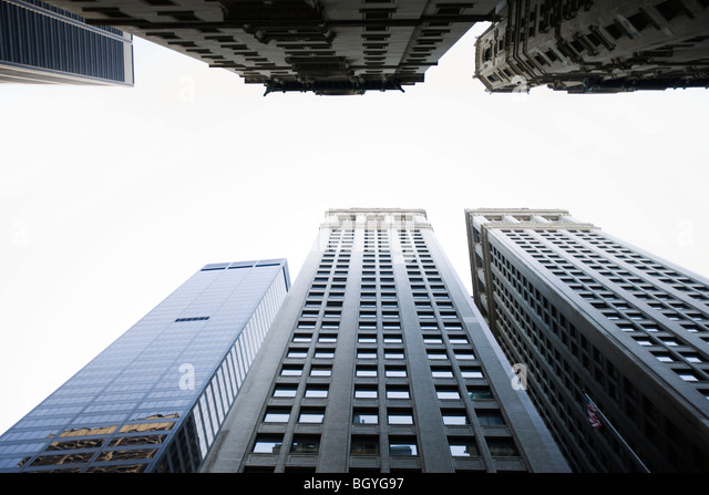 Skyscrapers side by side, low angle view - Stock Image