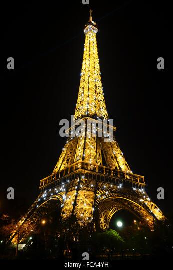 Corner Stair Tower At Night : Eiffel tower stairs stock photos