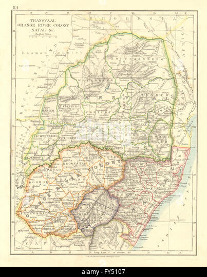 COLONIAL SOUTH AFRICA. Orange River Colony Natal Basutoland Transvaal, 1906 map - Stock Image