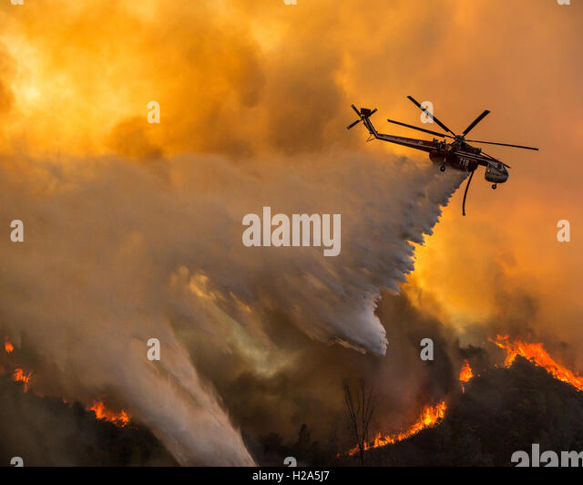 Moccasin, California, USA. 26th Sep, 2016. September 26, 2016.A firefighting helicopter drops water on the Marshes - Stock Image