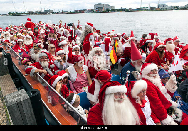 Copenhagen, Denmark – July 18, 2016: Santa's participating in in the World Santa Claus Congress 2016 visits the - Stock Image