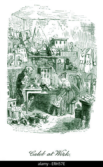 The Cricket on the Hearth by Charles Dickens, published in 1845. Caption reads: 'Caleb at Work'. Caleb Plummer - Stock Image