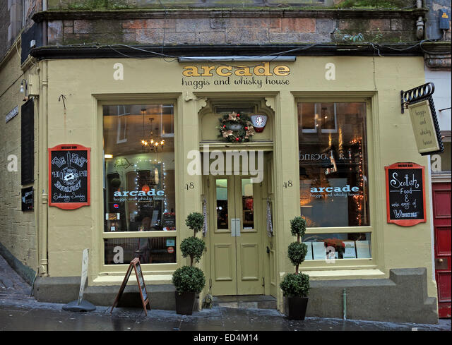 Arcade Edinburgh Haggis & Whisky House, Scotland,UK - Stock Image