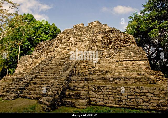Costa Maya Mexico Chacchoben Mayan ruin Temple Templo 10 Pyramid - Stock Image