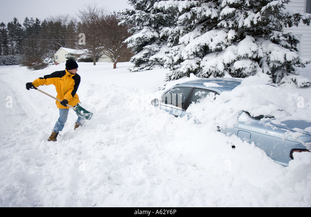 Young Man Shoveling Snow Stock Photos Amp Young Man