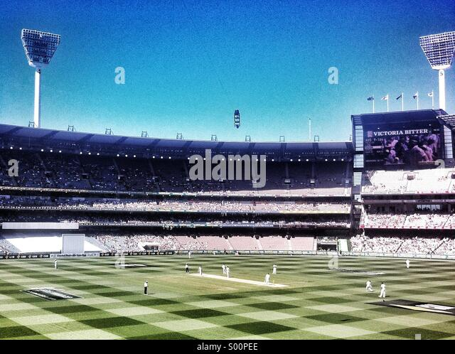 Ashes test match at Melbourne Cricket Club - Stock Image