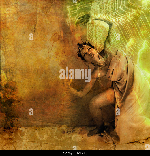 Goddess woman being over come by the light. - Stock Image
