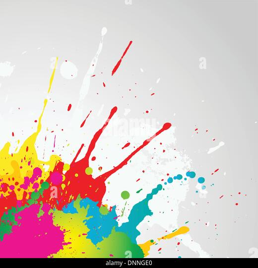 Grunge background with colourful paint splats - Stock-Bilder
