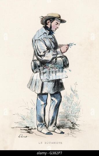 Botanist at work.         Date: 1850 - Stock-Bilder