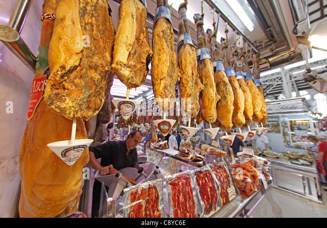 Central market hall , Delicatessen, Jamon, Mercado Central, Valencia, Spain - Stock Image