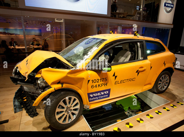 Detroit, Michigan - A crash-tested Volvo C30 electric car on display at the North American International Auto Show. - Stock Image