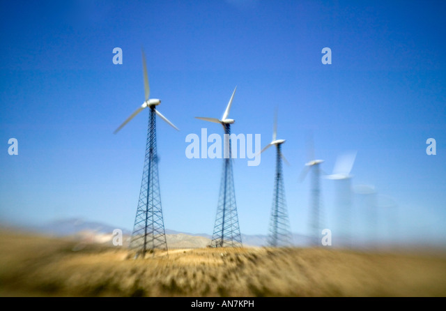 Wind turbines in California, USA - Stock Image