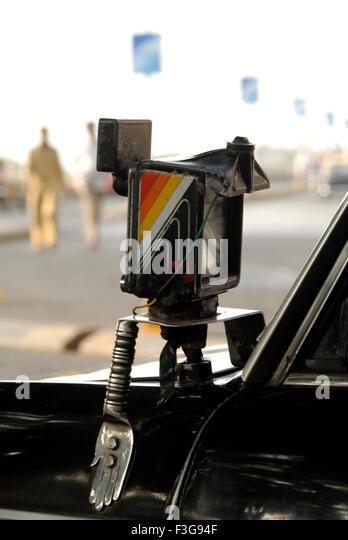 Artistic Meter of a taxi at the Gate way of India ; Mumbai Bombay ; Maharashtra ; India ; Asia - Stock-Bilder
