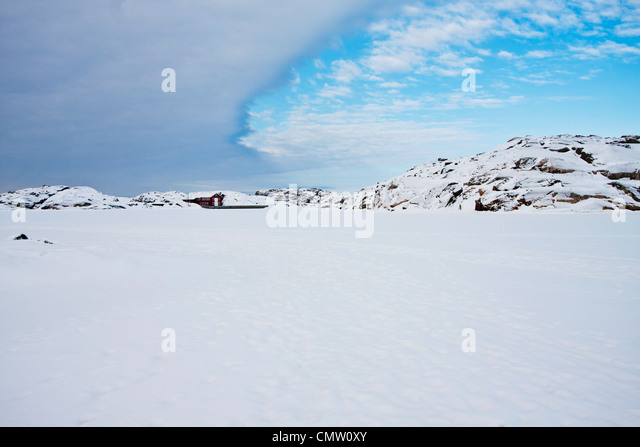 Snow-covered landscape in winter - Stock Image