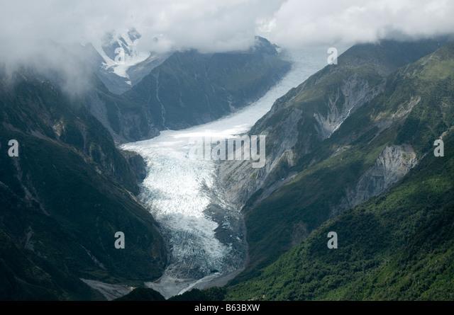The Fox Glacier, Fjordland, South Island, New Zealand - Stock Image