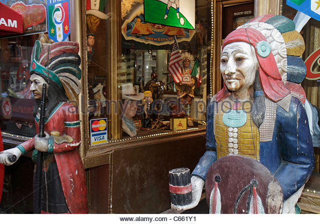 New York New York City NYC Lower Manhattan Little Italy Mulberry Street souvenir collectibles store business shopping - Stock Image