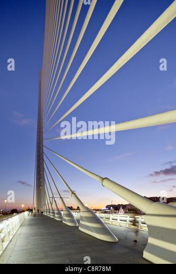 Puente de l Assut, bridge, City of sciences, Calatrava, Valencia, Spain - Stock Image