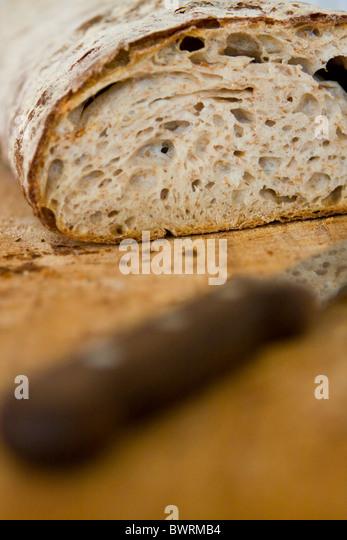 A loaf of rustic bread at Paustian Restaurant in Copenhagen, Denmark. - Stock Image