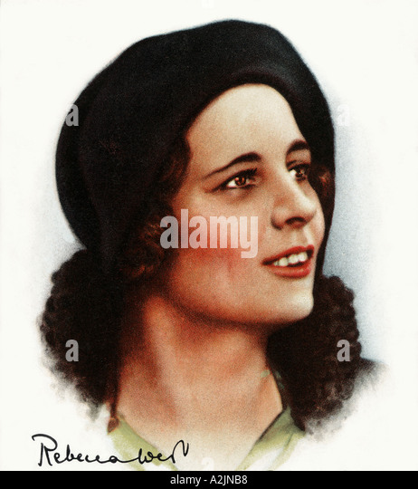 REBECCA WEST Irish born romantic novelist 1892 1985 on a 1930s cigarette card with her signature - Stock Image