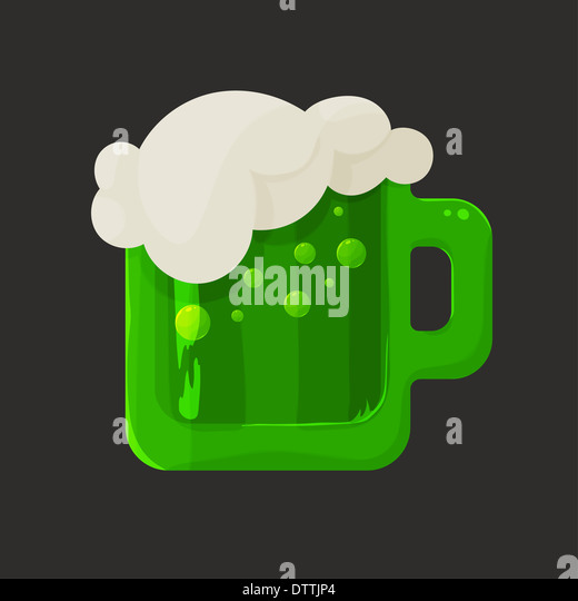 Stylized shiny glass mug with green beer and foam - Stock-Bilder