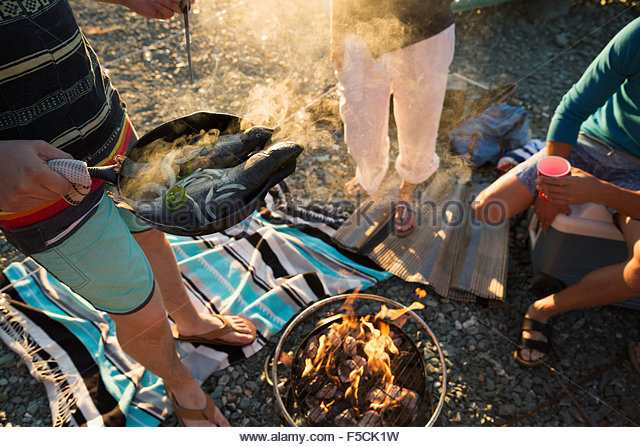 Young friends cooking at campfire - Stock Image