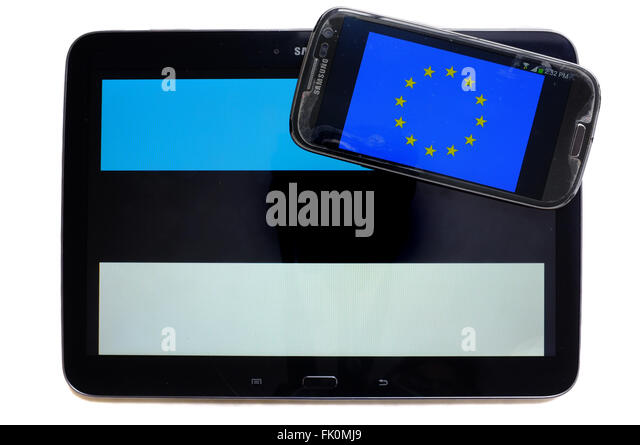 The EU flag on a smartphone screen displayed alongside the Estonian flag on a tablet screen. - Stock Image