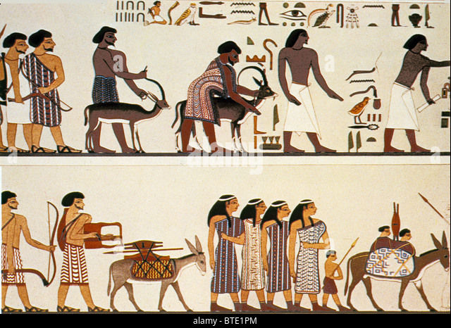 Egypt wall painting stock photos egypt wall painting for Beni hasan mural