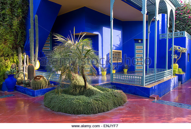 Jardin majorelle marrakech stock photos jardin majorelle for Jardin yves saint laurent marrakech